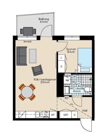 Fullutrustad fräsch lägenhet (3 sovplatser)
