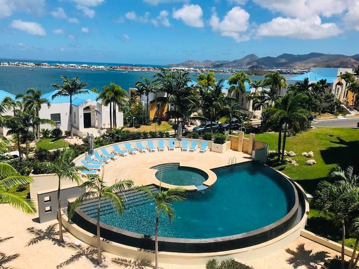 Luxury near Maho, gated,  views, gym, heated pool.