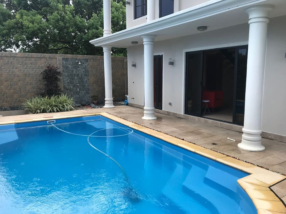 Pool access, outdoor shower