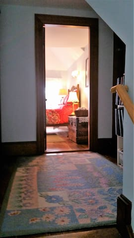private entryway to 3rd floor attic bedroom - very private  and quiet