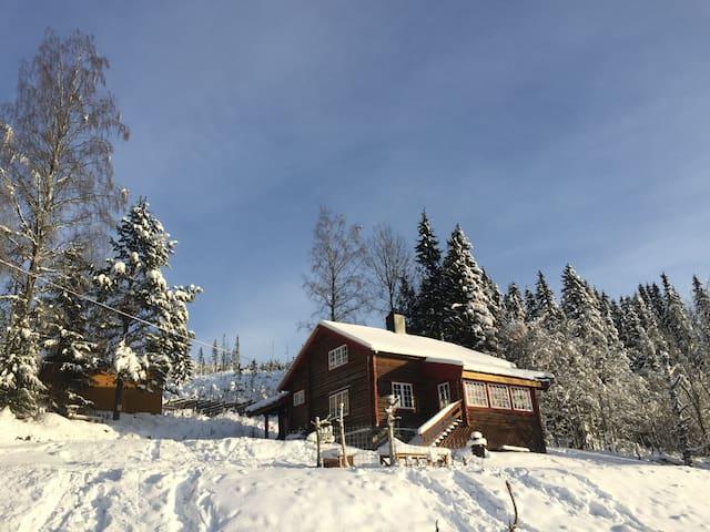 Gammel tømmehytte med utsikt - Sjusjøen - Hytte