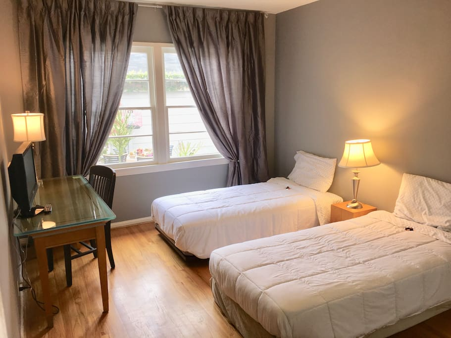 2 twin beds or one king... Loads of daylight enter your suite. Desk area with a chair, enjoy free WiFi. Lighted closet with ample shelving and hanging space.