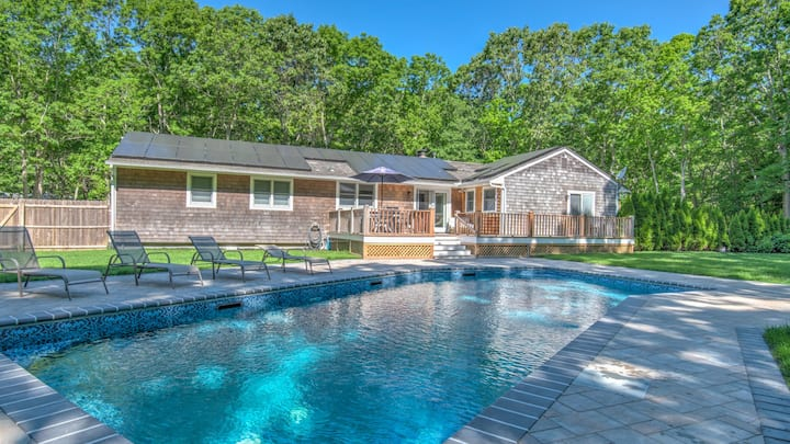 A Classic Hamptons Retreat in Water Mill w/ Private Pool, Laid-back Living Spaces, Grassy Lawn