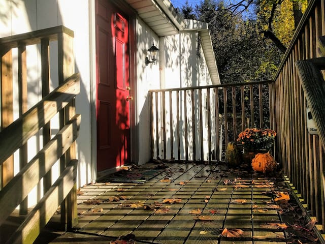 Enter through the bright red door.