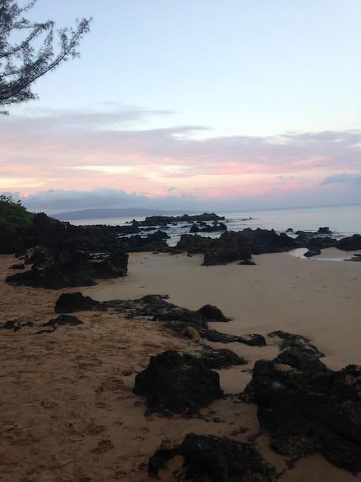 Sunrise on Kamaole Beach II, across the street.