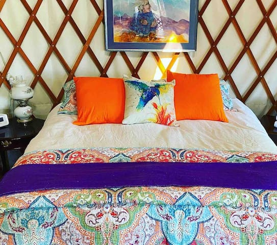 Cozy Queen Bed with All Natural Cotton Bedding and Down