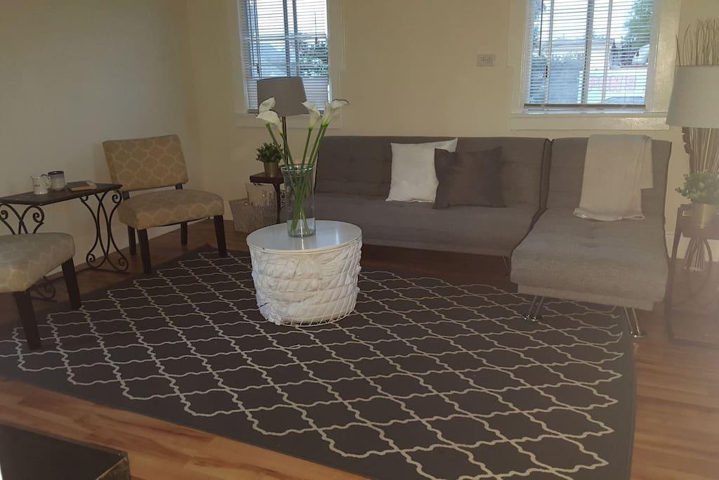 living room / sleeping space