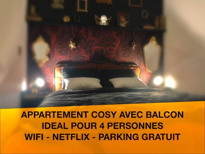 Appartement cosy: 1 chambre - balcon, idéal pour 2