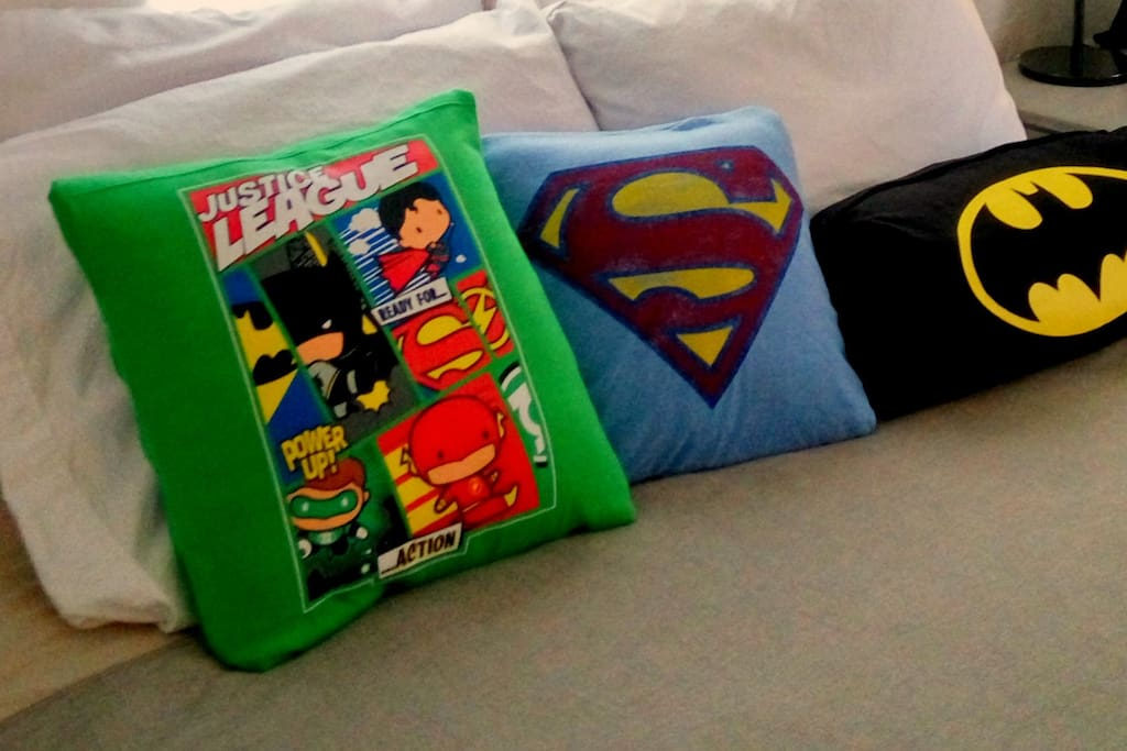 Superhero pillows, made by us especially for this room