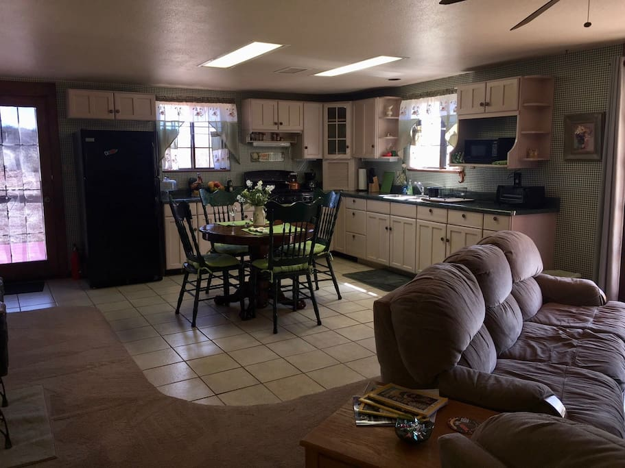 Fully stocked country style kitchen.