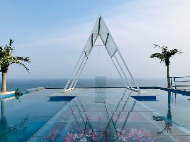 【伍间·南巷】虎滩海洋公园观山望海 观景阳台 网红拍照打卡圣托里尼摄影基地