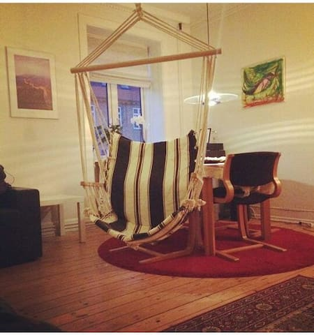 Hanging chair in the room