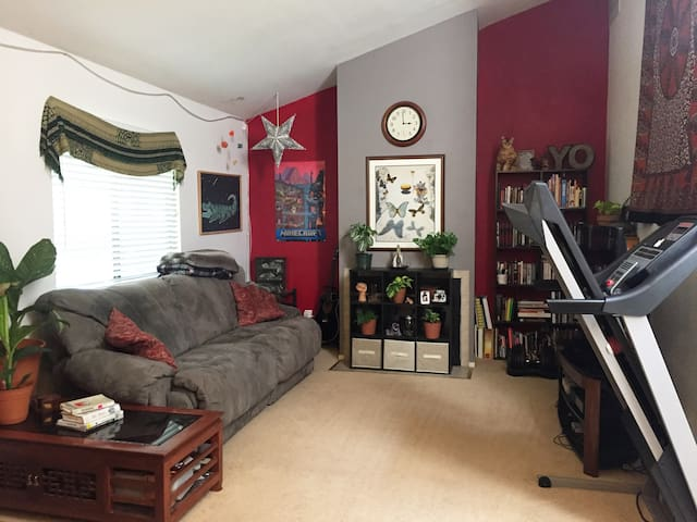 Full living room, which you are free to enjoy. Includes books, TV, video games and board games.
