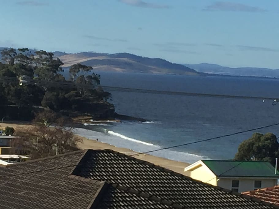 View from the front patio looking up the Derwent river towards Hobart.  It's about cruise ship season!