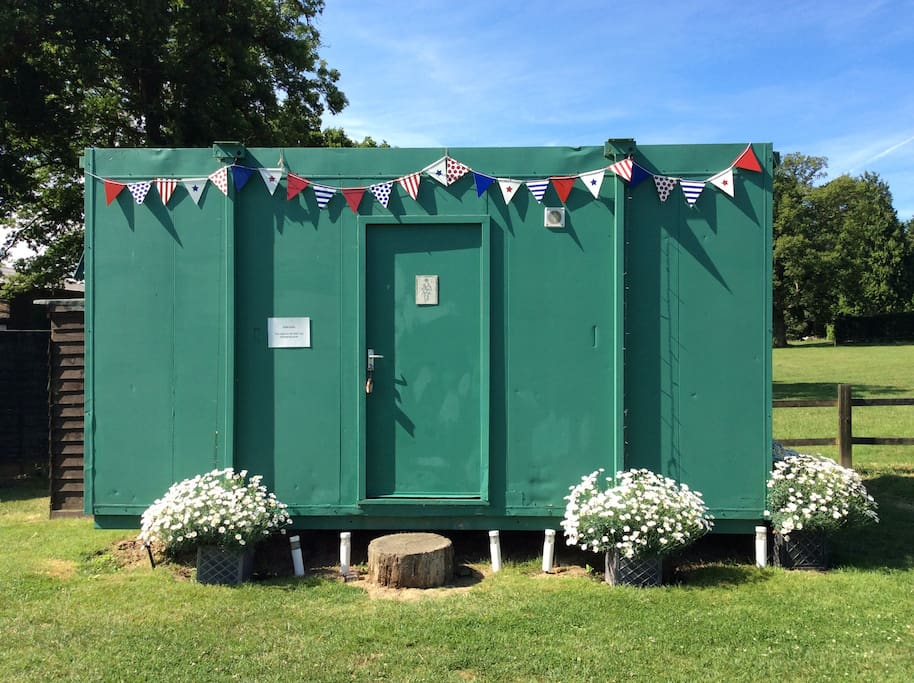 The toilet/shower block located in the field