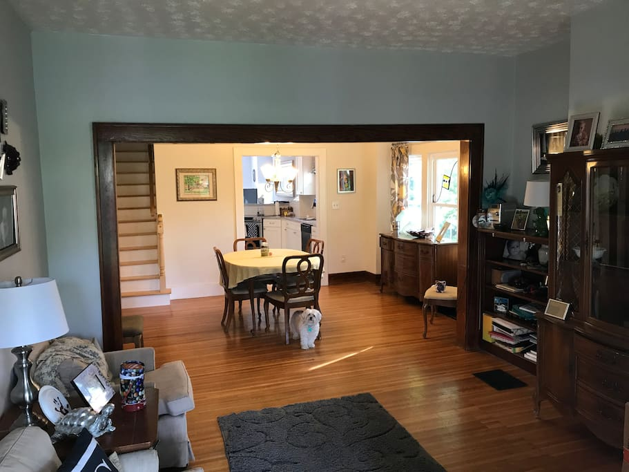 Entry way, living room and dining room