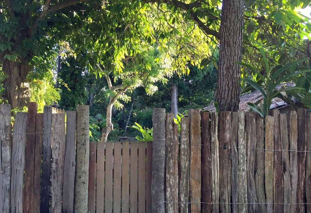 our gate and fence viewed from the Quadrado