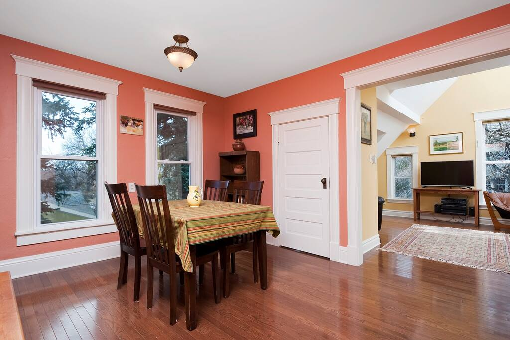 Dinning room with living room in background