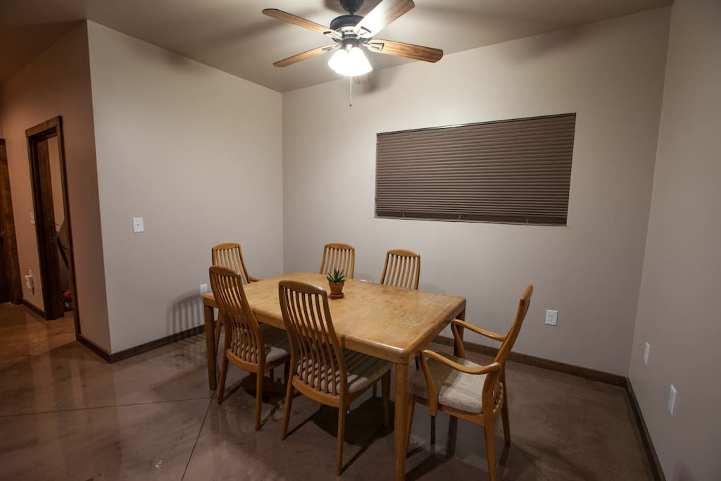 Attached dinning room with table and chairs.