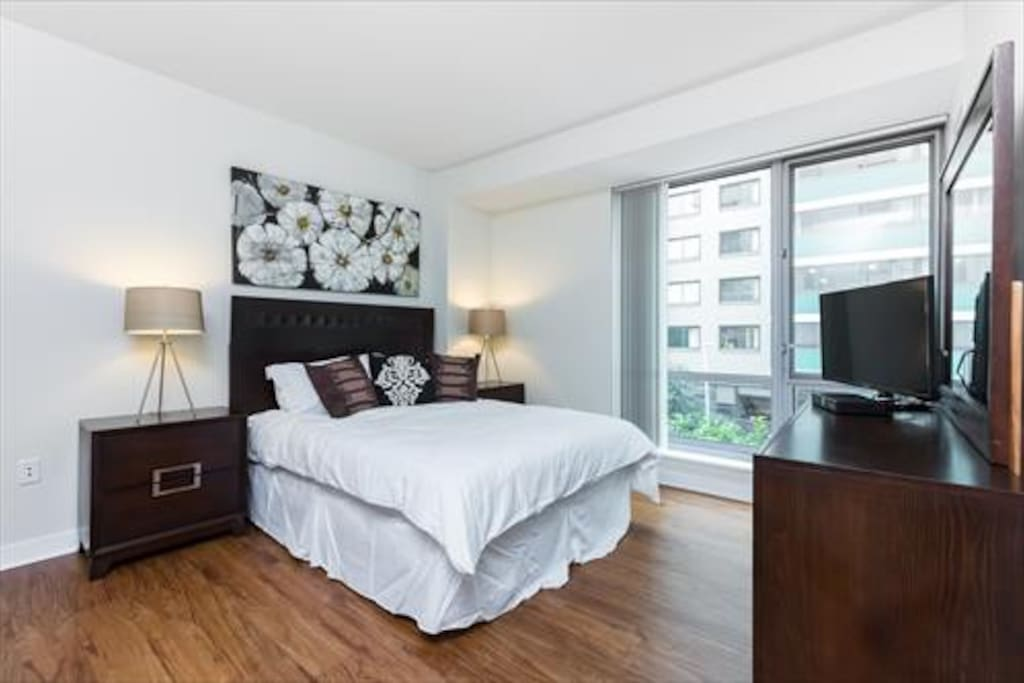 Our one bedroom is furnished with a Queen bed, two night tables, and large walk-in closet.