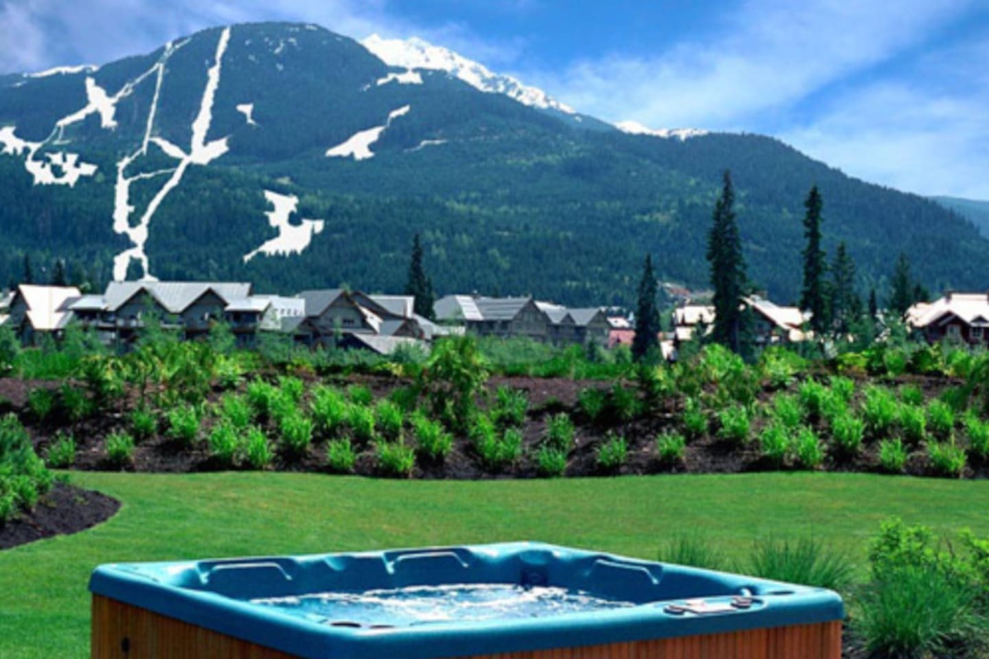 Hot tub with views of both Whistler and Blackcomb