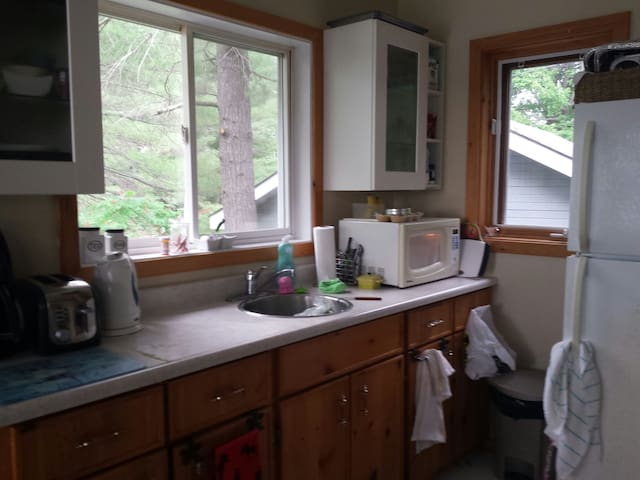 Kitchen with microwave,fridge,hotplate, toaster oven, dishes etc. included
