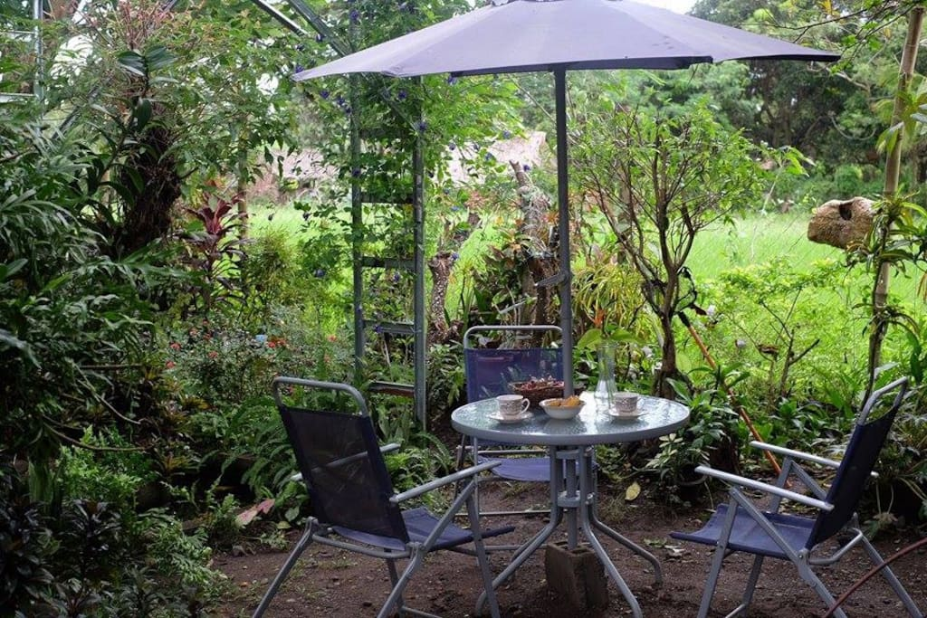 A perfect spot for breakfast and coffee. Facing the rice paddies, it will make you feel like you are in Ubud, Bali.