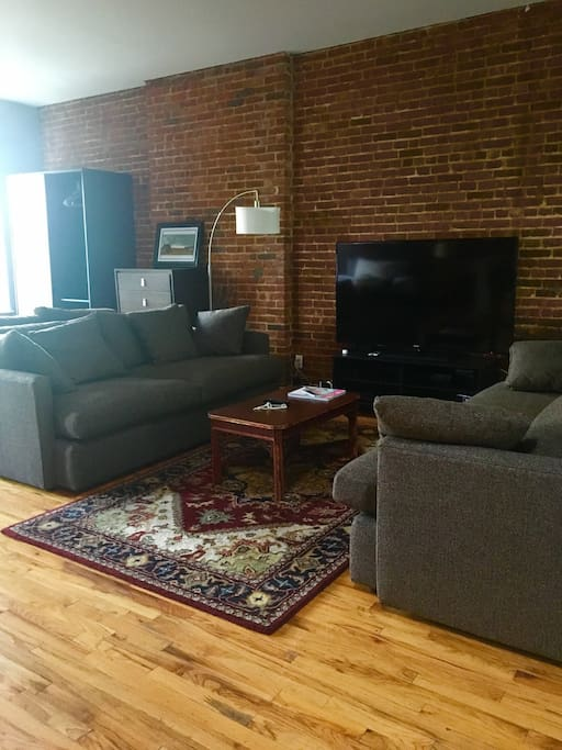 Living area with brand new couches