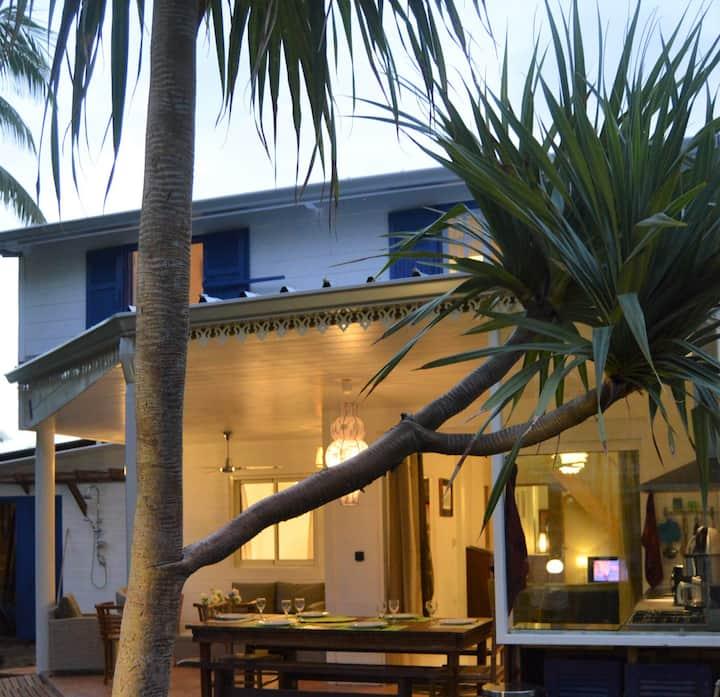 Maison créole de charme -80m lagon Hermitage