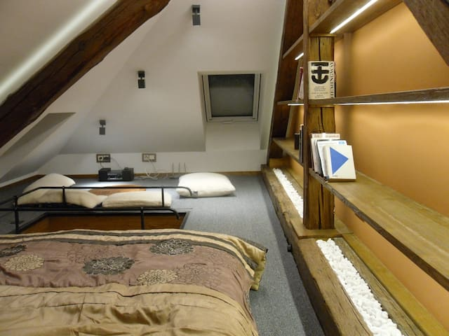 duplex room for sleeping and chilling, roof windows, full of light. Television included. beautiful views:-)