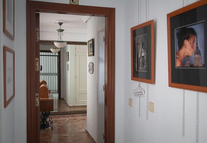 Entrada a la casa por la puerta. Al fondo en el espejo se puede observar la verja típica andaluza de entrada.