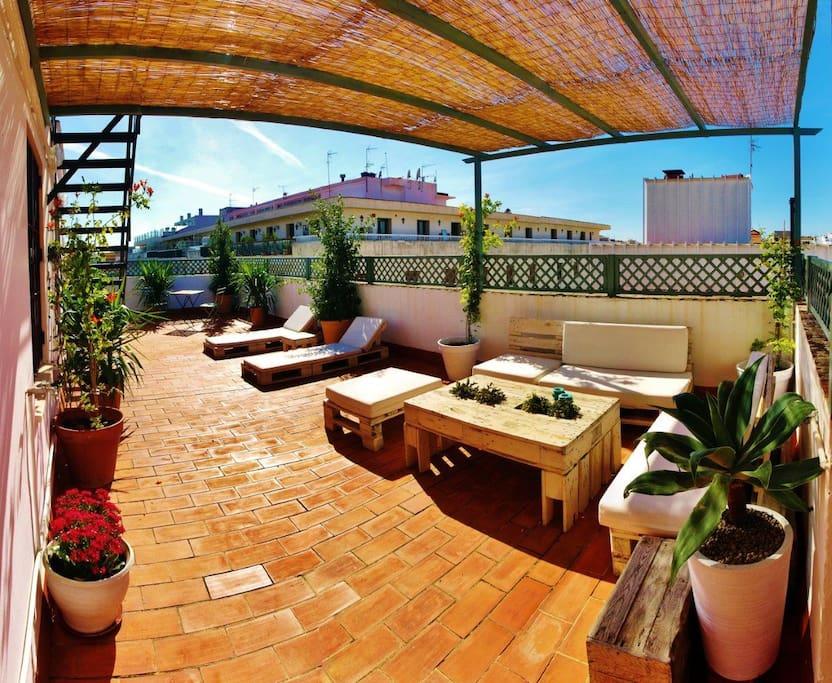 plaza nueva terraza privada wifi wohnungen zur miete in sevilla andalusien spanien. Black Bedroom Furniture Sets. Home Design Ideas