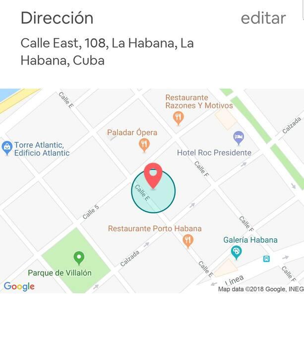 Direccion Exacta. Real Adress Vedado Zone. A 25 minutos del Aeropuerto Internacional José Martí