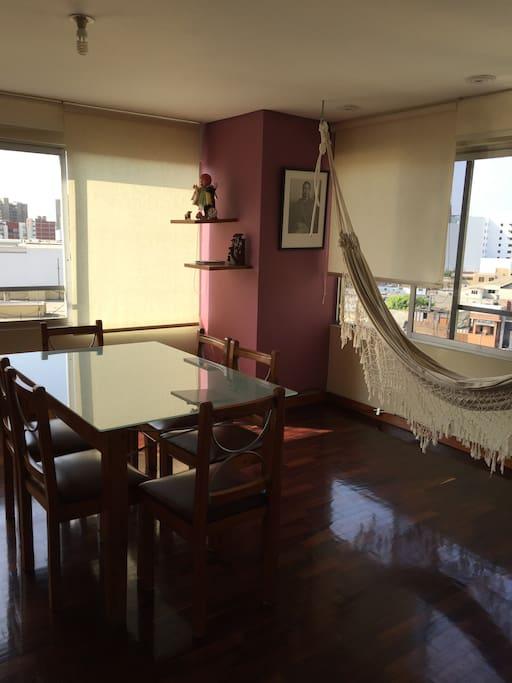 Dining room with hammock