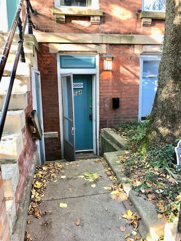 Lower unit entry way, pick up your keys at the lockbox here!
