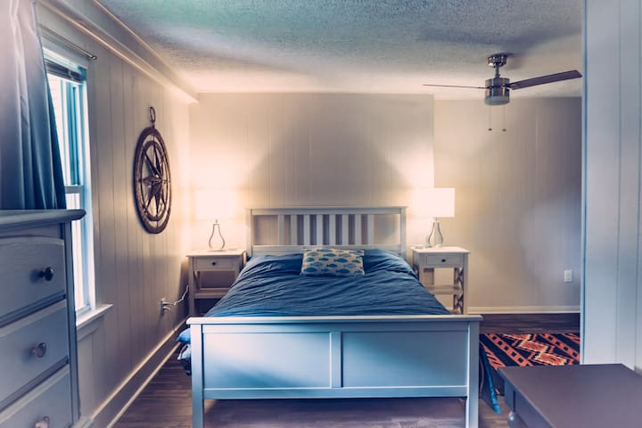 Master bedroom comfy bed and a nautical feel!