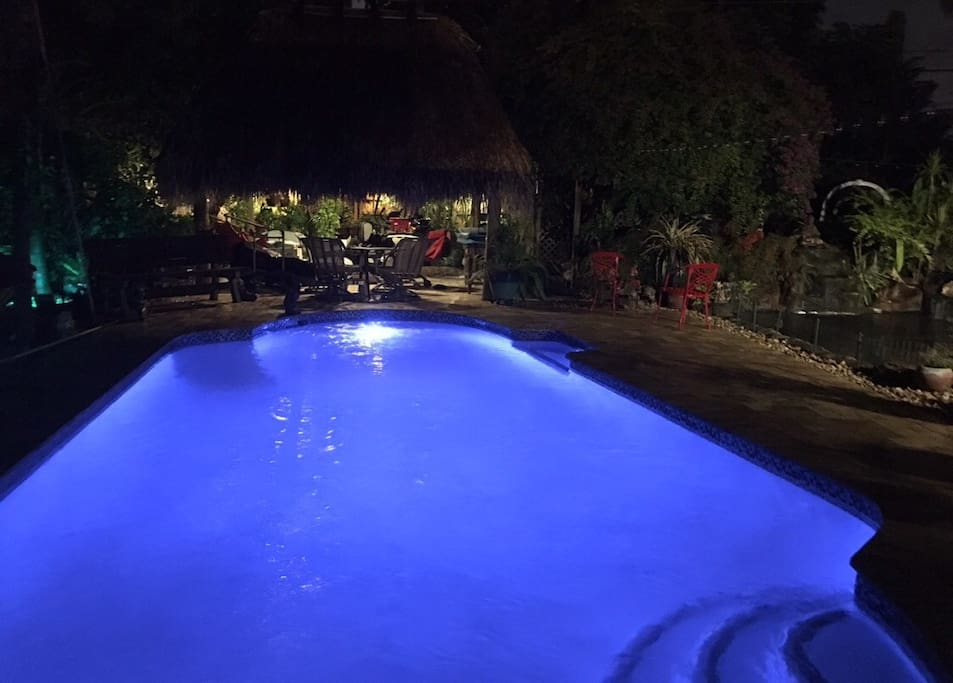 POOL WITH POOL LIGHT ON ONLY
