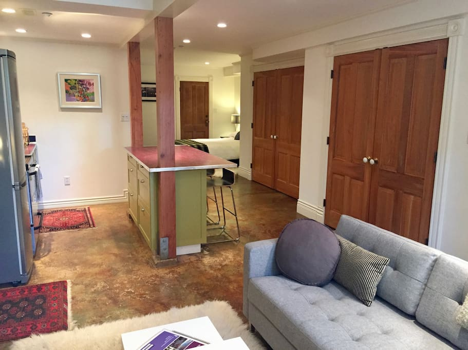 Open floorpan with polished concrete