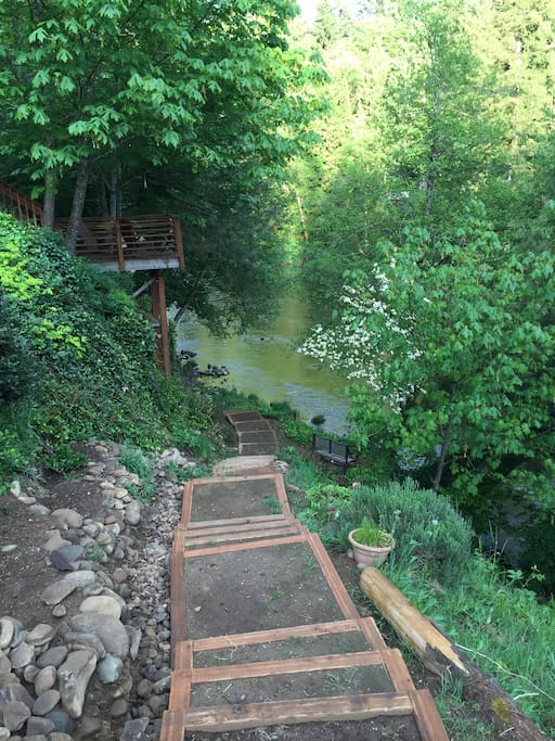Steps have been completed. Easy access to river. Summer months floaters and a pig-line help make floating fun.