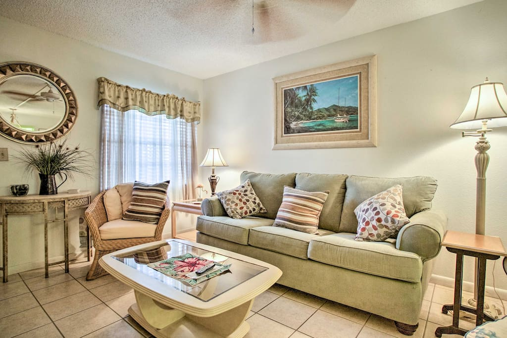 Feel right at home inside the condo's tastefully furnished interior.