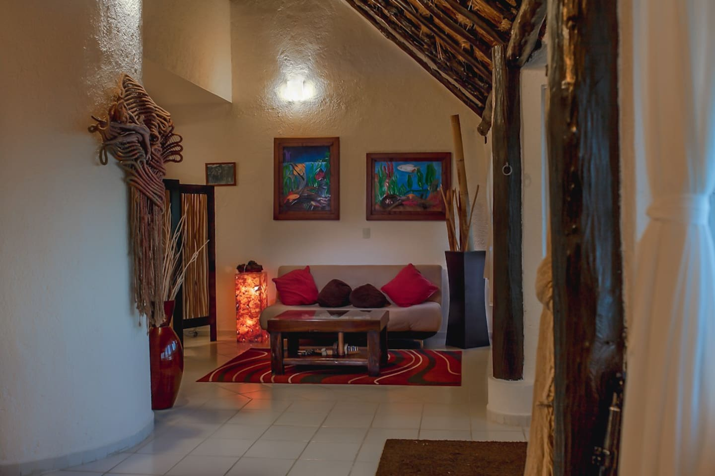 Living room area with palapa roof