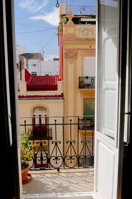 one of 2 balconys with view on historic facades