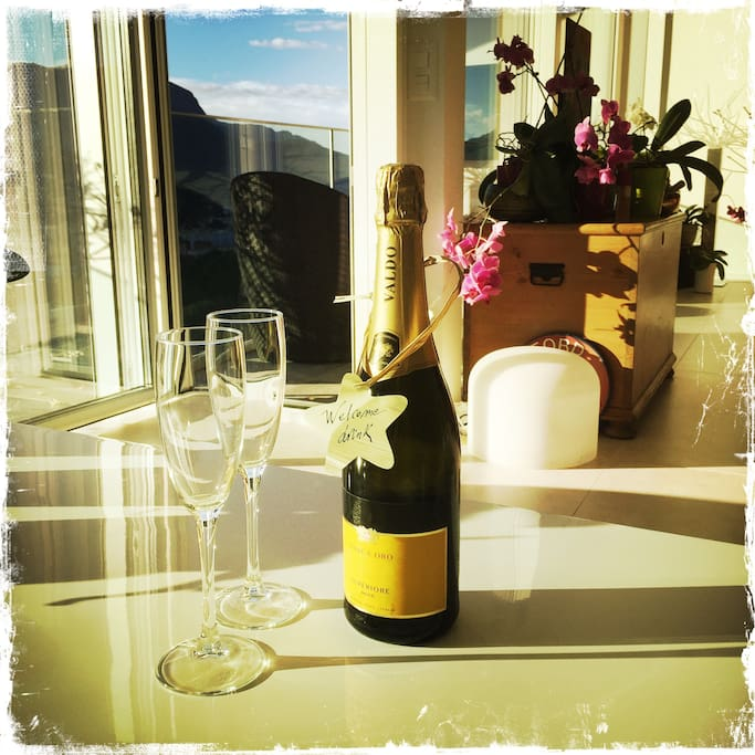 Offered welcome Prosecco drink