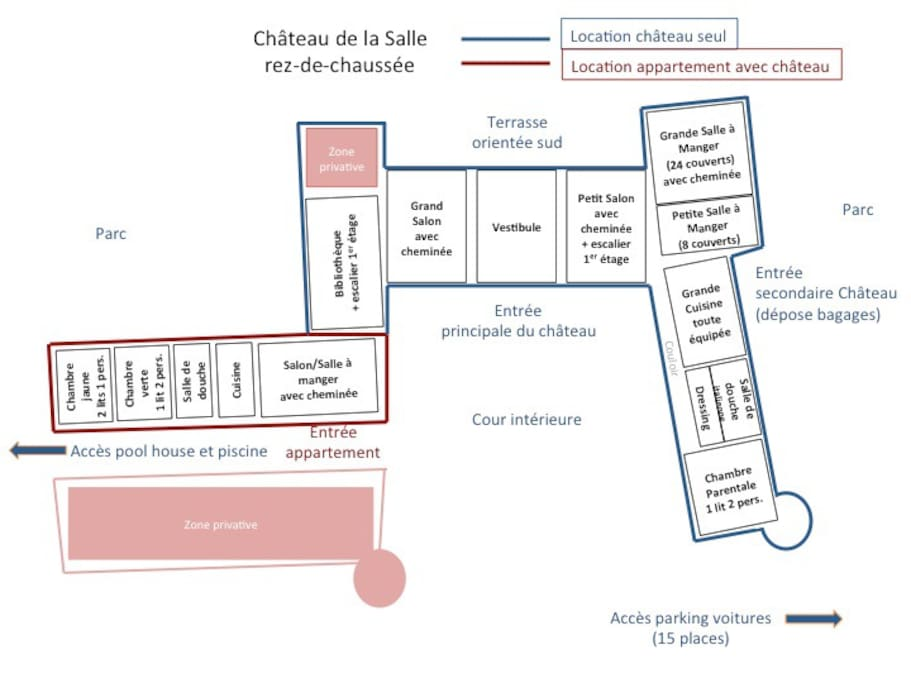 Plan location rez de chaussée avec appartement
