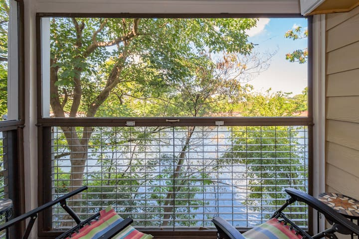 Screened in sitting area with a beautiful view!