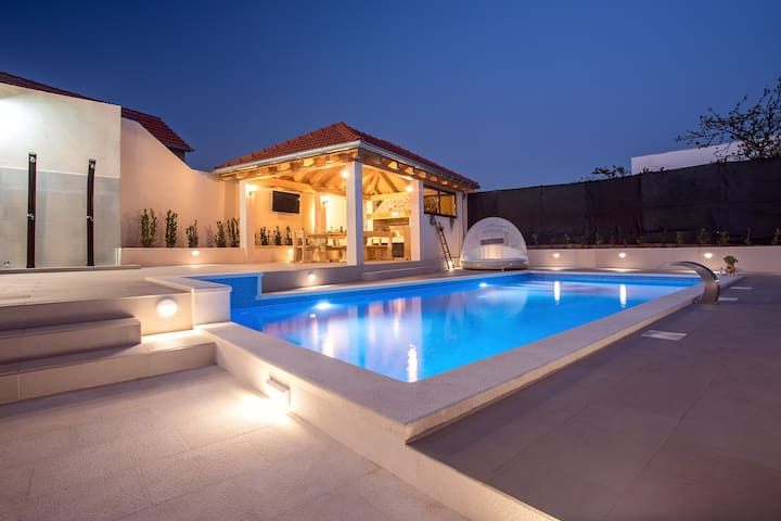 Night view on the pool area.