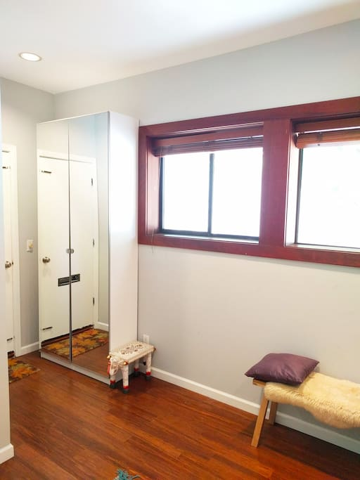 Private entrance opens to your own guest suite with spacious closet and bright windows