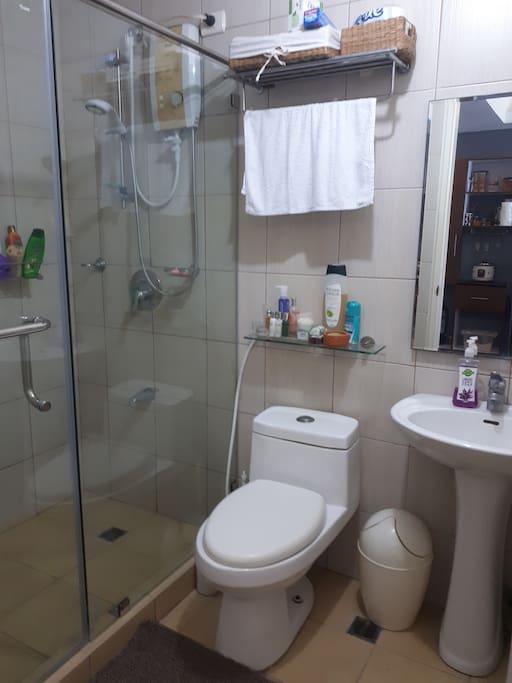 Washroom with shower glass door