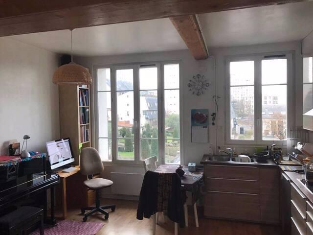 Duplex calme lumineux à Ivry 20' de Paris centre