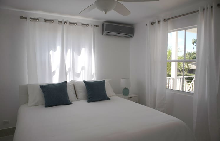 Here the second bedroom is shown with one King bed - it can be converted to 2 Twin XL. Built in closet and air conditioning.